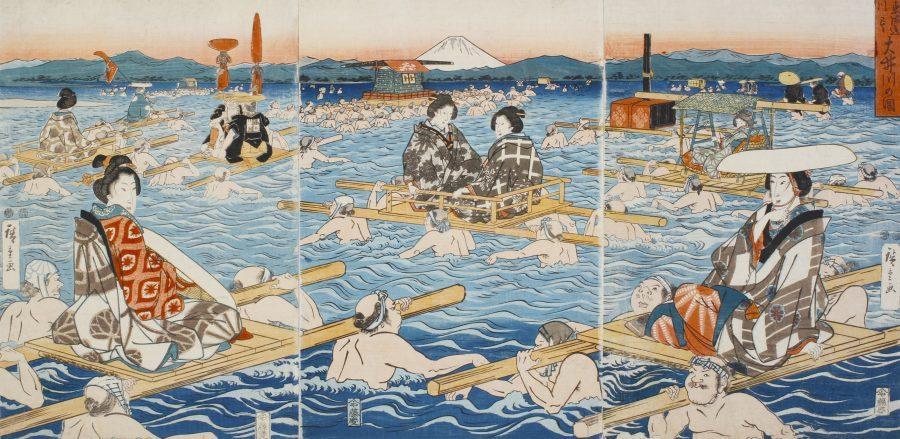 歌川広重 東海道川尽大井川の図